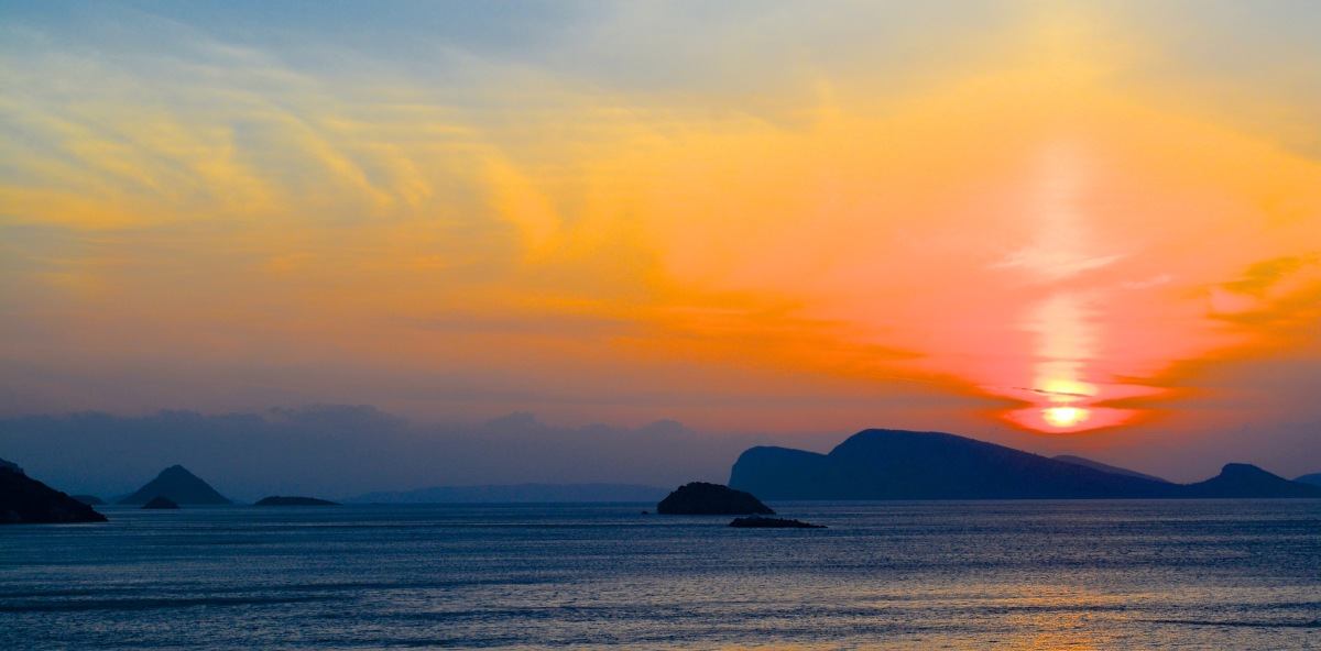Beautiful sunsets seen from Hydra Greece
